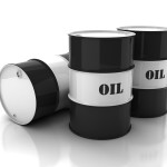 oil barrels with mark on white background